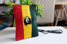 Rasta Reggae Bob Marley Neck Pouch Bag Mini Wallet Coin Purse Strap  Handmade
