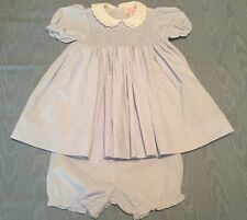 Petit Ami Baby Girl 9 Month Easter Dress Blue Hand Smocked Diaper Cover