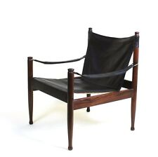 Mid Century Danish Modern Rosewood and Leather Safari chair by Erik Worts