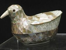 STUNNING CARVED DUCK /  BIRD DECORATIVE TRINKET BOX with MOTHER OF PEARL