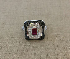 HSN XAVIER ABSOLUTE SIMULATED RUBY ART DECO RING COCKTAIL RING SZ 7.25
