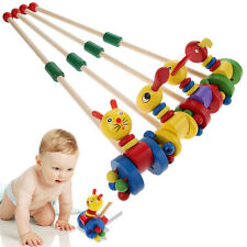 Baby Toddler Activity Toy Child Kid Putting Animal Cartoon Wooden Puzzle Trolley