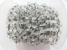 3 Feet Crystal Quartz Chips Freeform Rosary Beaded Chain Black Plated Wire 3-5mm
