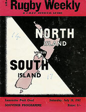 NORTH ISLAND v SOUTH ISLAND, NZ 28 Jul 1962 RUGBY PROGRAMME at CHRISTCHURCH