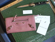 Authentic Balenciaga Classic Money Wallet Clutch Long Wallet Pink Leather Agneau