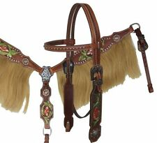 Showman Painted & Tooled Headstall & Horse Hair Fringe Breast Collar & Reins SET