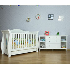 White New Zealand Pine 3-in-1 Baby Sleigh Cot Bed & 4 Drawers Change Table Set