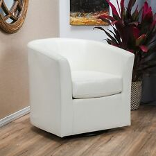 Contemporary Off-White Leather Swivel Club Chair