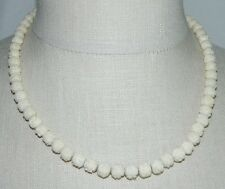 VTG 1/20 10k GF Ivory Colored Beaded Carved Celluloid Flower Choker Necklace