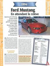 Ford Mustang  1994  USA  Car Auto FICHE FRANCE