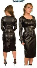 Misfitz black leather look pencil buckle skirt. Sizes 8-32  or made to measure