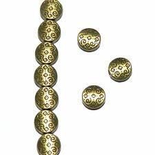 MBL930p Antiqued Bronze Patterned Flat Round Coin 7mm Metal Spacer Beads 50/pkg