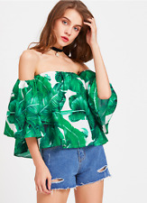 Green Palm Leaf Print 3/4 Sleeves Bardot Vacation Crop Top One Size