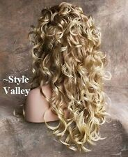 Strawberry Blonde MIX 3/4 Fall HairPiece Long Curly Layered Half Wig Hair Piece