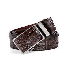 Mens Crocodile Cowhide Leather Vintage Dress Jeans Belt automatic buckle Belt