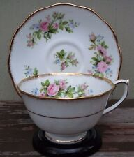 ROSLYN - MOSS ROSE - FINE BONE CHINA TEA CUP & SAUCER - ENGLAND