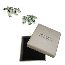 Mens Pair Of Silver Bear Animal Cufflinks & Gift Box By Onyx Art