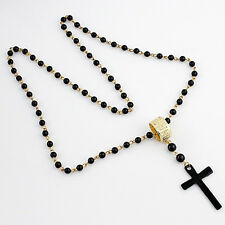 1Pc Fashion Black Bead Necklaces Rhinestone Cross Pendant Long Sweater Necklaces