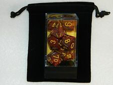 New Chessex Polyhedral Dice with Bag Mercury Speckled Red 7 Piece Set DnD RPG