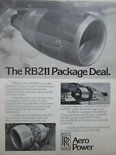 7/1976 PUB ROLLS-ROYCE RB211 ENGINE LOCKHEED TRISTAR AIRLINER ORIGINAL AD