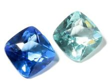 Lot (2) 19mm Czech vtg square faceted Sapphire aqua blue glass rhinestone jewels