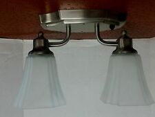 OPTRONICS 12 Volt RV Double Light Ceiling Mount with push button Nickel  NEW