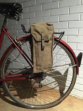 British WWII Military Surplus Shoulder Bag Vintage Bicycle Pannier Green Canvas