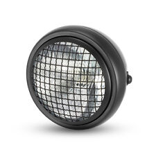 "6"" Black Mesh Grill H4 Retro Headlight Project Cafe Racer Scrambler Motorbike"