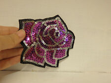 2 grandes violet fleur rose applique sequin brodée à coudre motif patch gb