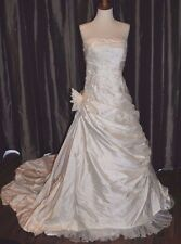 PRONOVIAS BARCELONA Off White SILK STRAPLESS WEDDING DRESS W/ BEADS Small