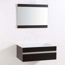 Bathroom Vanity-Modern Bathroom Vanity Set Wall Mount-Single Sink and Mirror-32""