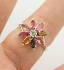 Solid 925 Sterling Silver & Multi- Coloured Tourmaline Ring jewellery, P1/2,  8