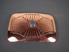 Navajo  Silver Belt Buckle with  Stamped Designs & Turquoise by Joann Silver