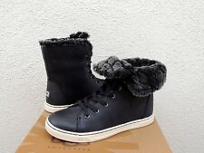 UGG BLACK CROFT LUXE QUILT LEATHER SHEEPSKIN ANKLE BOOTS, US 8/ EUR 39  ~NIB
