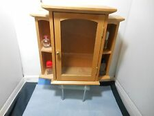Small Lt. Wood Curio Cabinet Display Glass Door Cubbies Transitional Decor