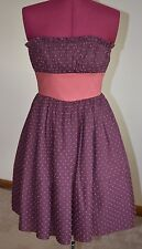 Betsey Johnson Strapless Dress Crinoline Size 2 Purple/Dusty Pink Bow Polka Dot