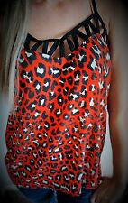 Maurices Tank Top Blouse String Strap Animal Print Leopard Red & Black Small NWT