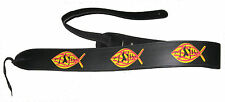 "2.5"" Christian  Jesus Fish Holy Black Leather Guitar Strap"