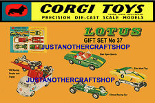Corgi Toys Gs 37 Lotus Elan Racing Team Tamaño A3 Poster Folleto anuncio rótulo