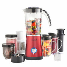 VonShef Juicer Smoothie Maker Multifunctional Blender 4 in 1 Red Grinder Mixer