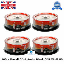 100 Pack Maxell CD-R CDR XL-II Audio Music 80 MINS Recordable Blank Discs CD's