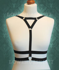 Simple chest V Body Harness Cage with rings. goth, burlesque, pentagram