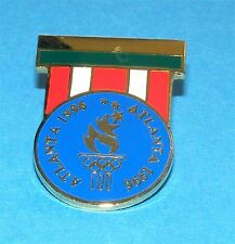ATLANTA 1996 Olympic Collectible Logo Pin - Military Medal Replica w Blue Logo