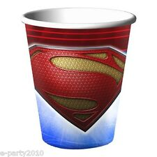 SUPERMAN MAN OF STEEL 9oz PAPER CUPS (8) ~ Birthday Party Supplies Tableware