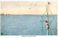FRENCH SAILOR AUSGUCK FEINDE LOOKOUT FOR THE ENEMY ARTIST SIGNED POSTCARD c1910s