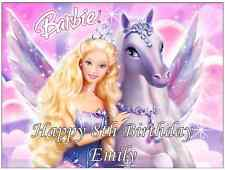 "Barbie Personalised Cake Topper 7.5"" By 10"" A4 Edible Wafer Paper"