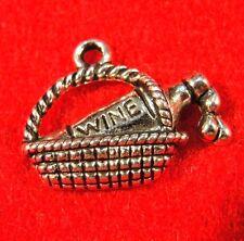 10Pcs. Tibetan Silver WINE BOTTLE In BASKET Charms Pendants Earring Drops  PR280