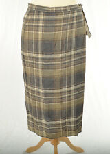 MaxMara 100% Linen Check SKIRT Size 14 Brown with Bow Wrap Around Style Weekend
