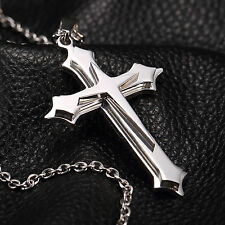 AgentX Stainless Steel Chain Sincere Silver CROSS Jewelry Pendant Men's Necklace