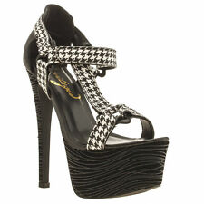 PRIVILEGED LETTIE WOMENS BLACK WHITE FABRIC PRINT HIGH HEELS SIZE 5 Was £65